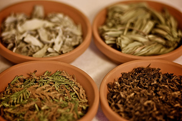 Four Medicines: Sage, Sweetgrass, Cedar and Tobacco