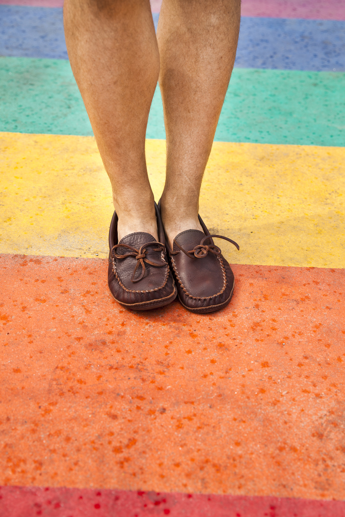 Standing in my Mocs on the Rainbow crosswalk in the heart of the Church and Wellesley Village.