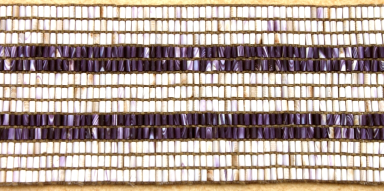 Wampum Belt reproductions by Ken Maracle (Cayuga Faith Keeper) made from Quahog Shell. Photo Credit: Darren Bonaparte, Native North American Travelling College
