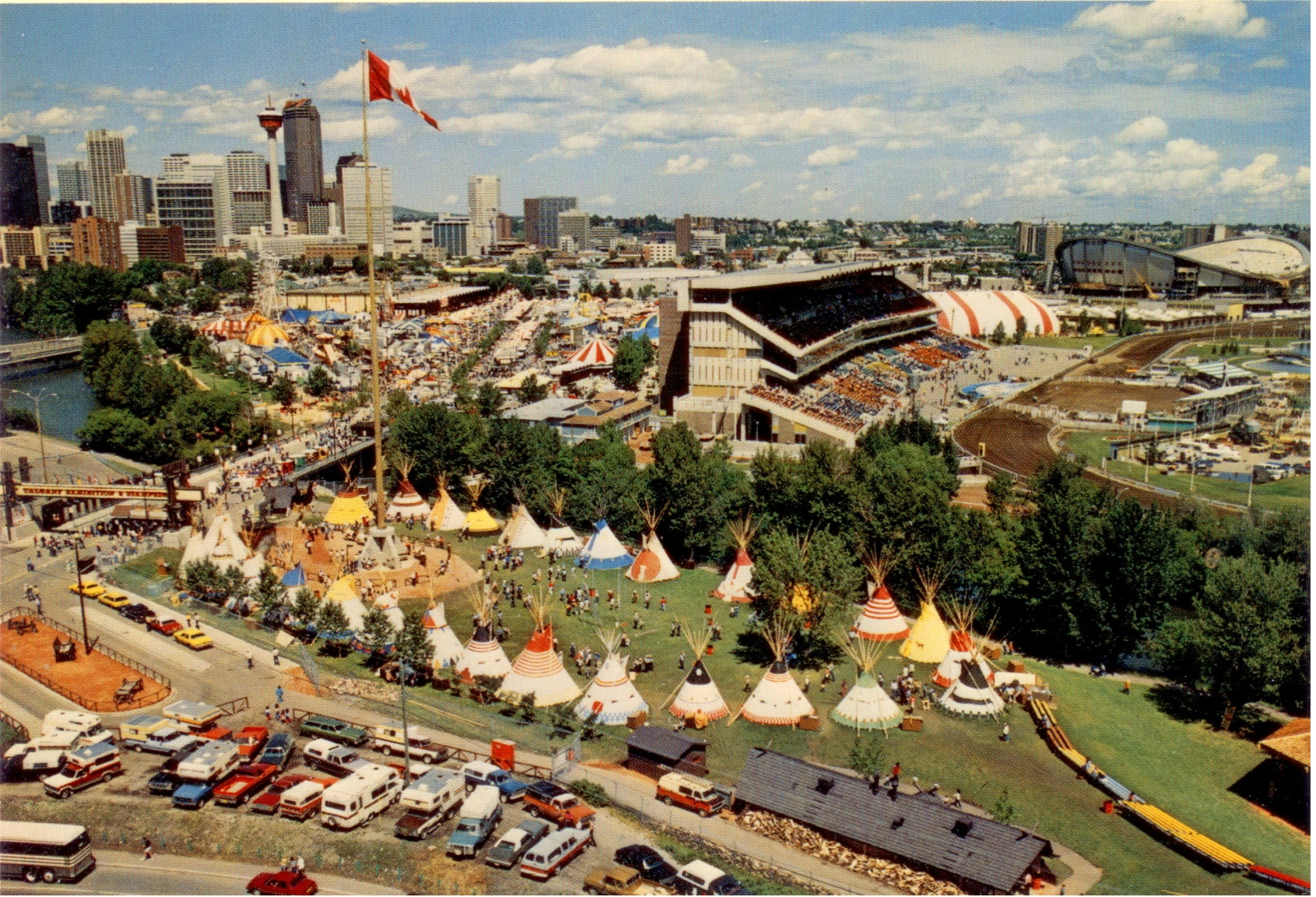 1980's view of the Indian Village at the Calgary Stampede